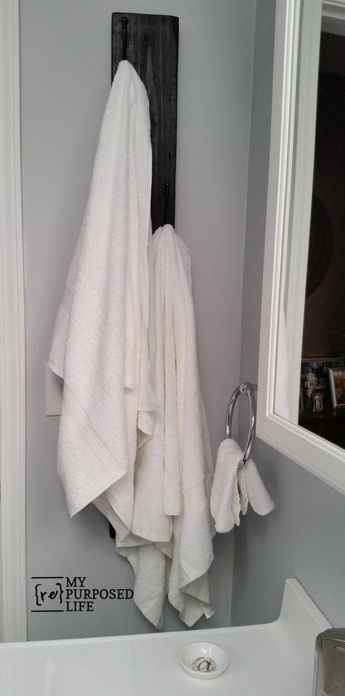 vertical hook rack for towels and more MyRepurposedLife.com
