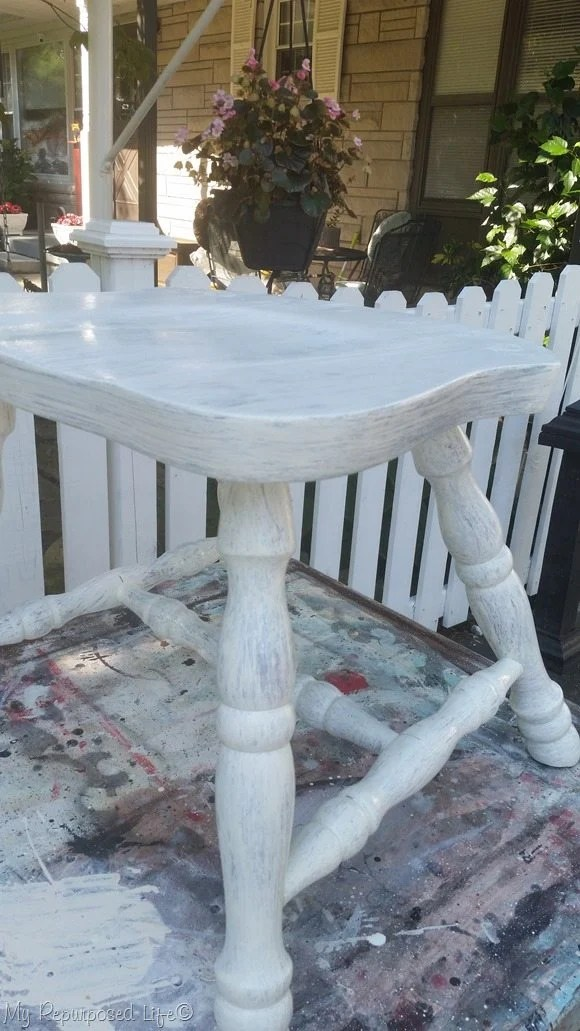 whitewash chair side table