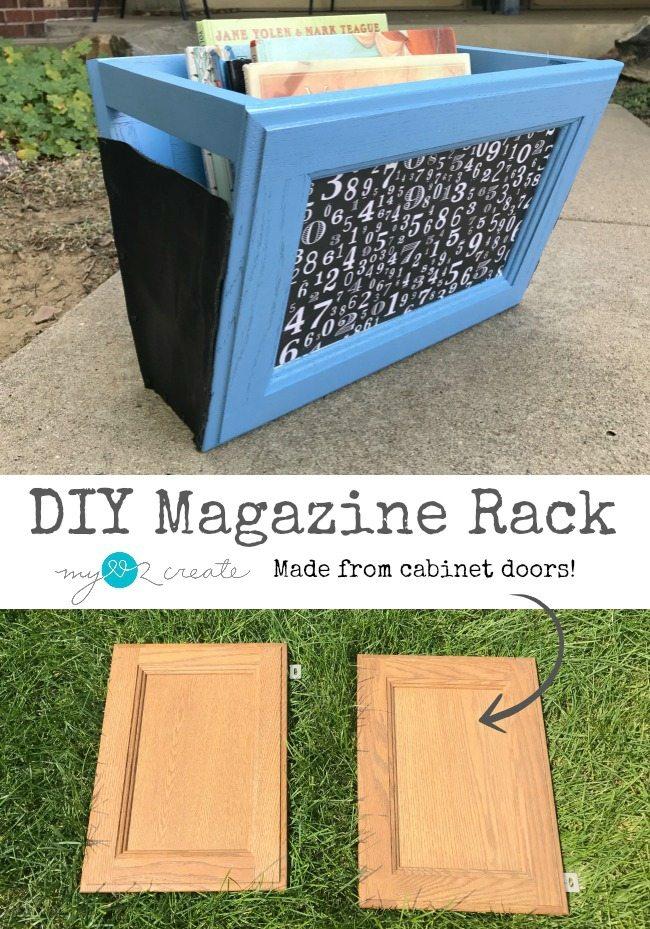 DIY Magazine Rack made from cabinet doors