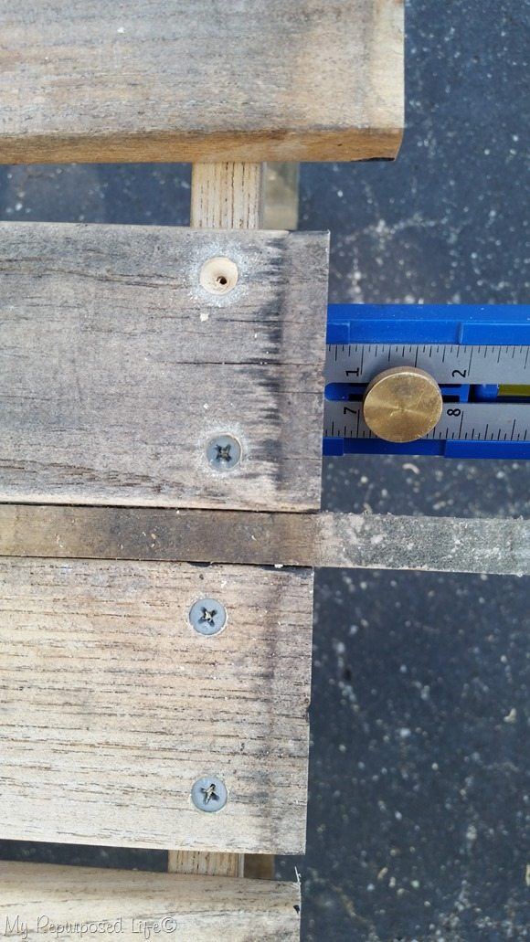 drill countersink pilot holes wooden slatted bench with back