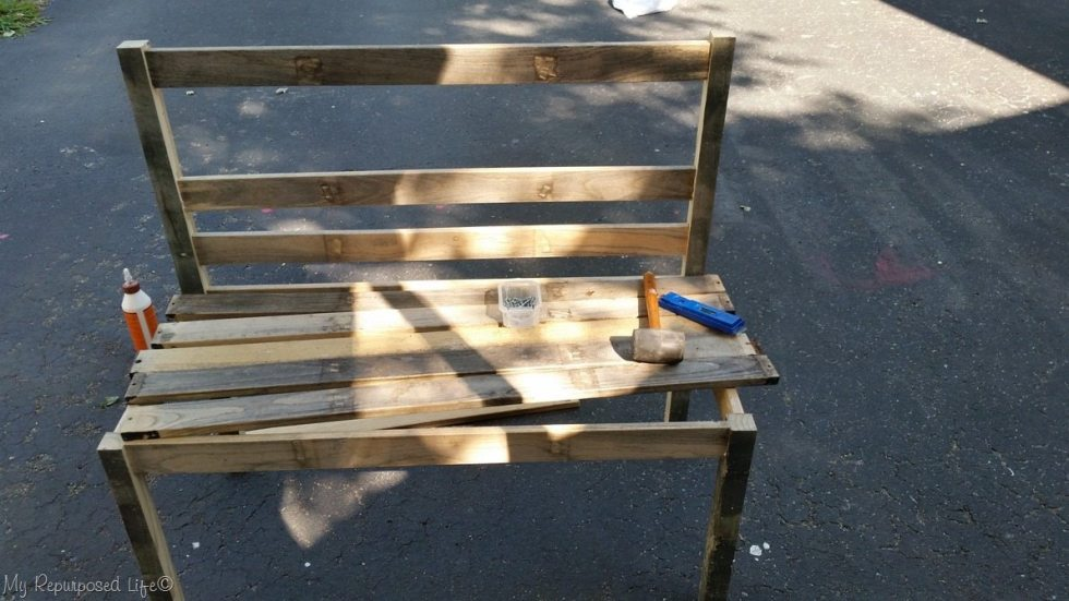 easy diy rustic wooden slat bench in progress