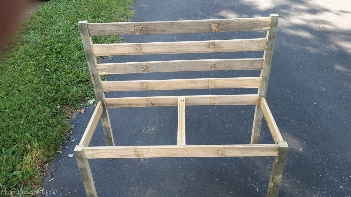 Easy Rustic Diy Bench With Back Slats In Place