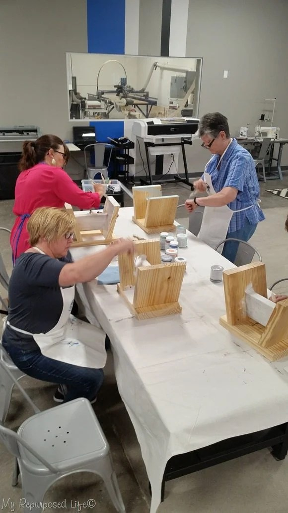 painting stools at maker 13