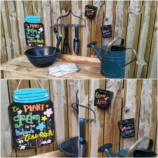 pallet potting table accessories MyRepurposedLife.com