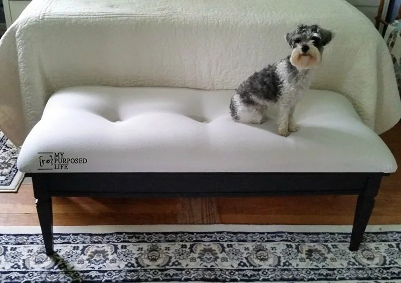 repurposed coffee table upholstered end of bed bench for pets MyRepurposedLife.com