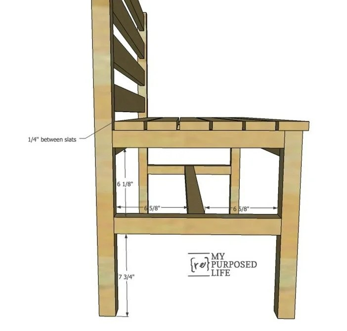 side view of wooden slat bench with back MyRepurposedLife.com