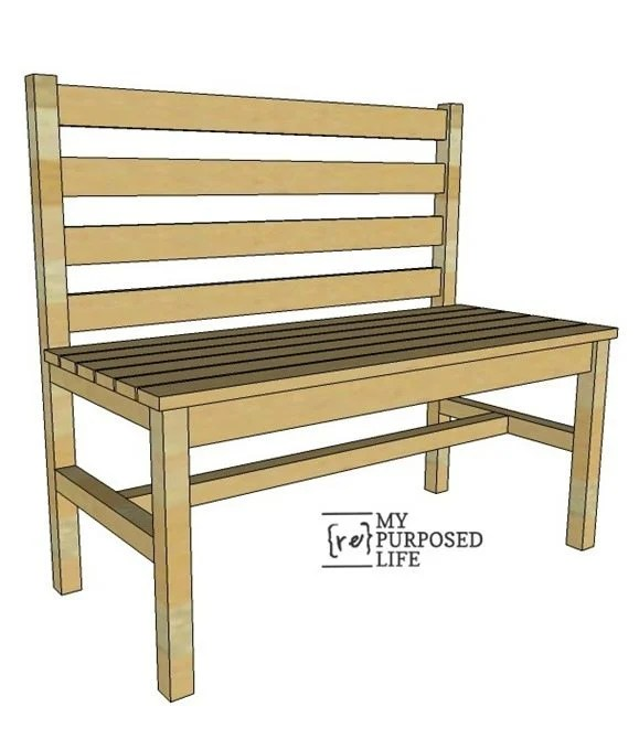 wood slat bench with back MyRepurposedLife.com