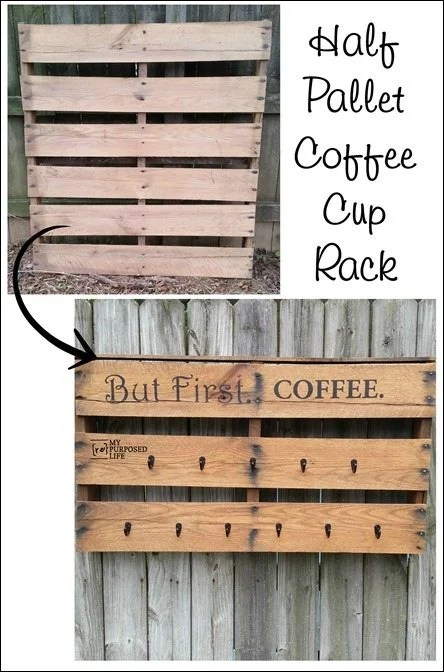 How to Make a half pallet coffee cup rack MyRepurposedLife.com