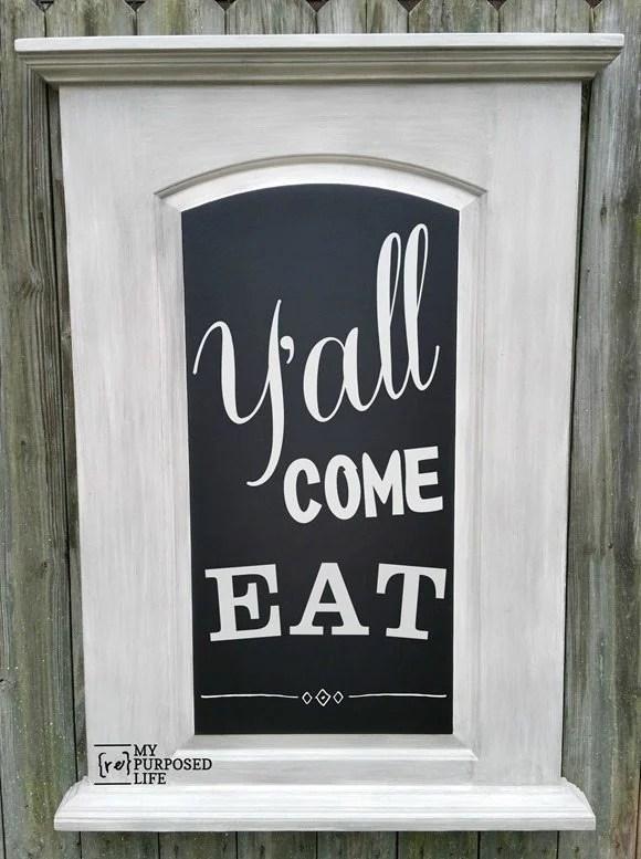 repurposed door chalkboard y'all come eat MyRepurposedLife.com