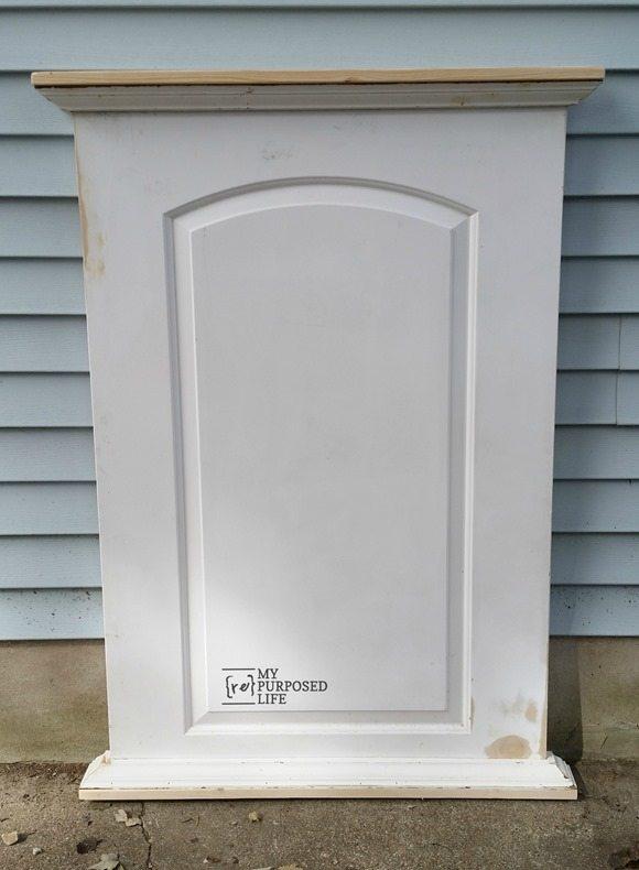 repurposed hollow door into extra large chalkboard MyRepurposedLife