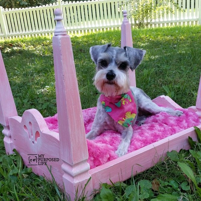repurposed table legs doll bed dog bed MyRepurposedLife.com
