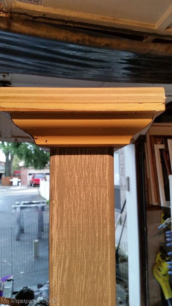 second try top cap for porch post coat rack