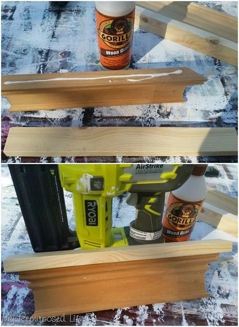 wood glue nail gun attach base to scrap molding sign