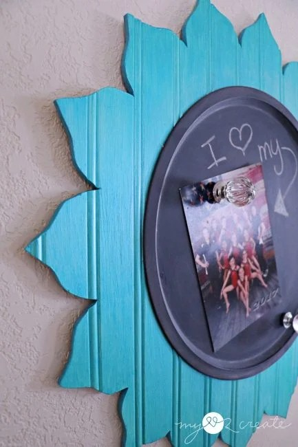 beadboard flower cut out with pizza pan magnetic chalkboard