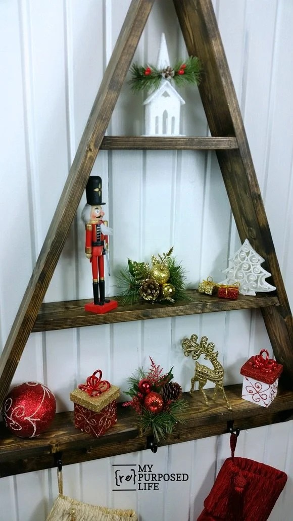 decorate wooden diy holiday tree shelf MyRepurposedLife.com