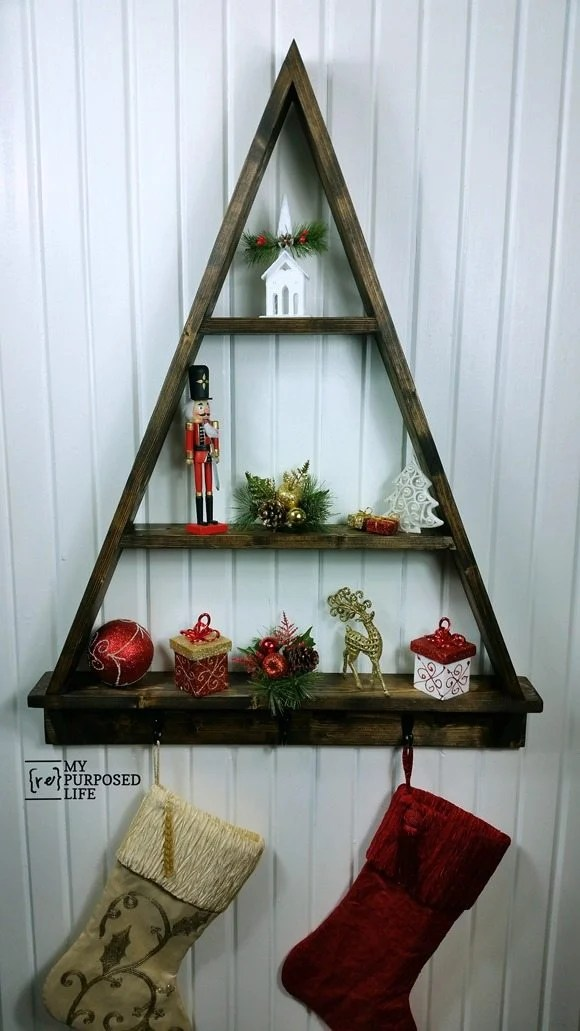 diy Holiday Tree Shelf for Christmas MyRepurposedLife