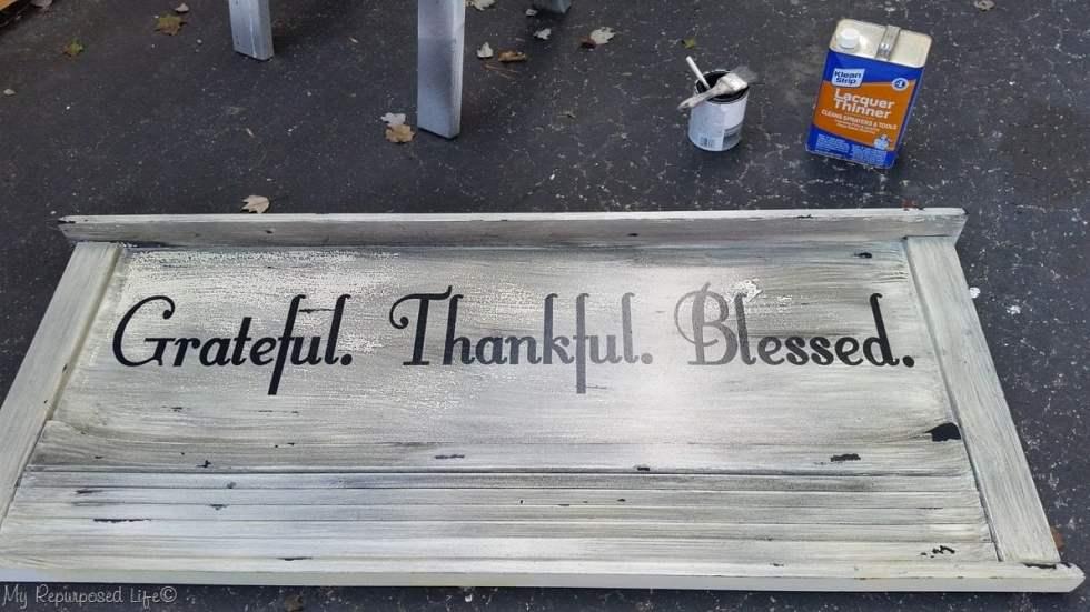 gray glazed headboard sign grateful thankful blessed