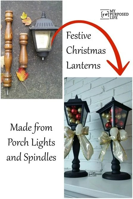 How to make diy Christmas Lanterns using old porch lights, spindles, and wooden bases. Easy weekend project to make for your holiday table or mantel. #MyRepurposedLife #repurposed #porch #lights #Christmas #lanterns via @repurposedlife