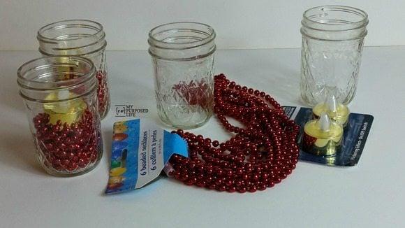 supplies to make jelly jar centerpiece MyRepurposedLife