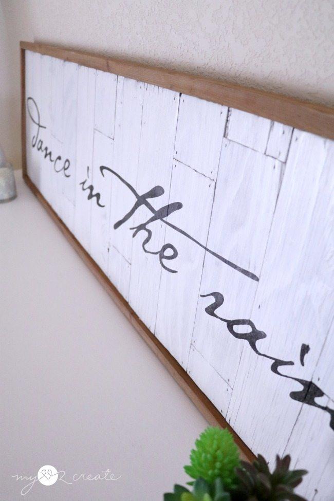 Side shot of planked wood sign