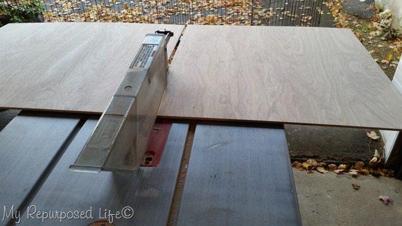 cut scrap plywood for octagon tray bottom