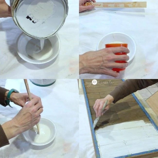 mixing paint and water to whitewash