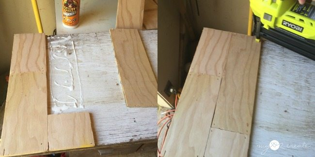 nail on 14 ply wood strips to scrap plywood