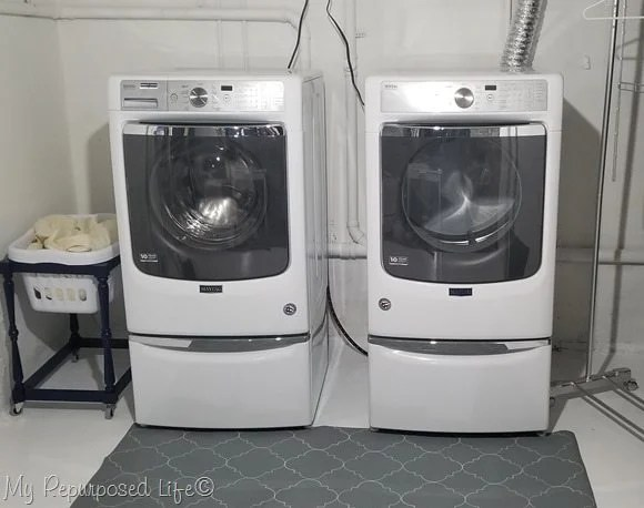 laundry room stenciled rug