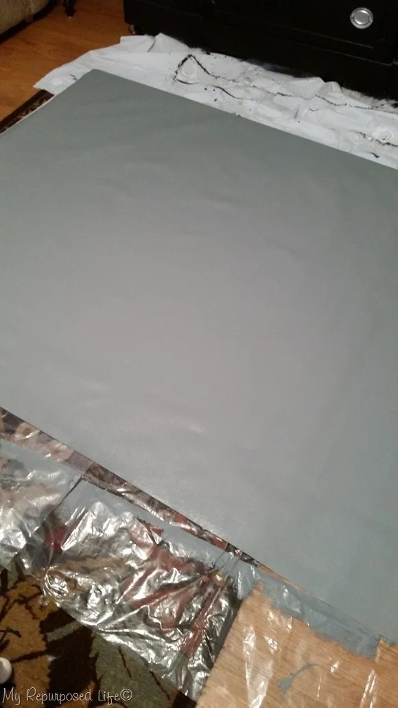 paint wallpaper gray to use for stenciled rug