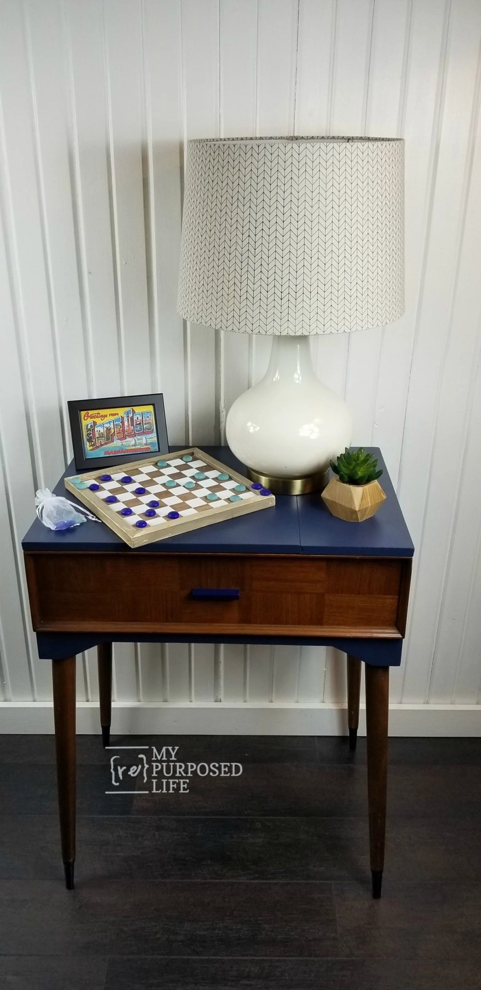 pretty navy blue mid century modern sewing cabinet makeover MyRepurosedLife