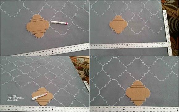 quatrefoil stenciled rug vinyl wallpaper oil sharpie MyRepurposedLife