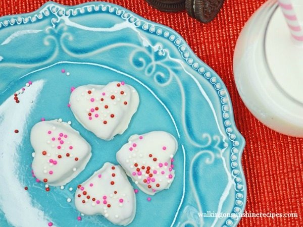 Valentine's Heart Shaped Oreo Truffles on blue plate FEATURED photo from Walking on Sunshine Recipes