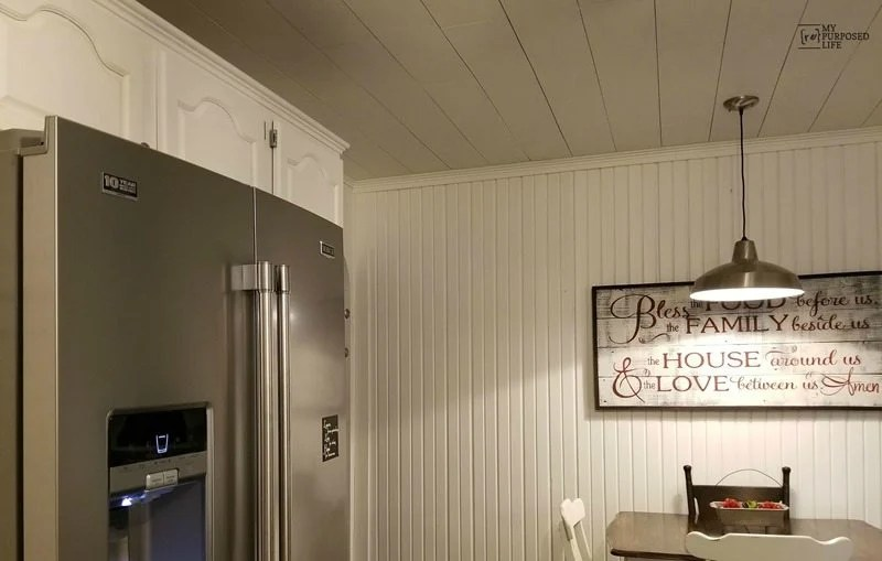 easy plank ceiling to cover popcorn texture ceiling My Repurposed Life