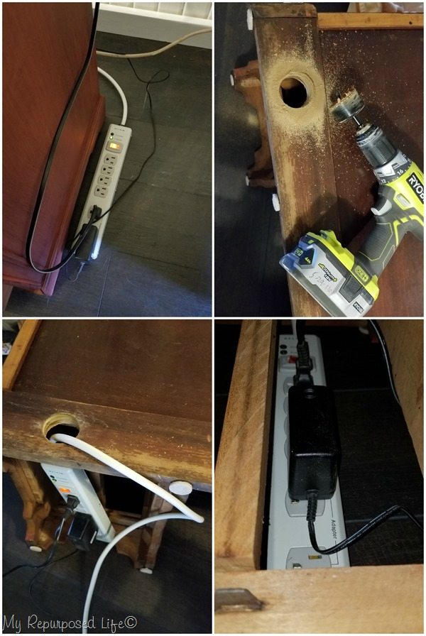 hide surge protector and ugly wires under desk