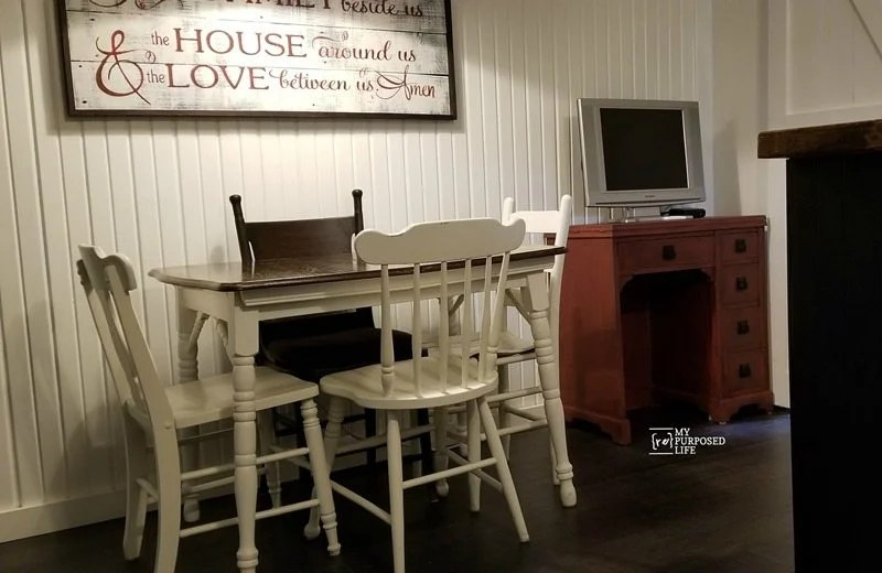 repurposed vintage sewing machine cabinet desk for kitchen storage MyRepurposedLife.com