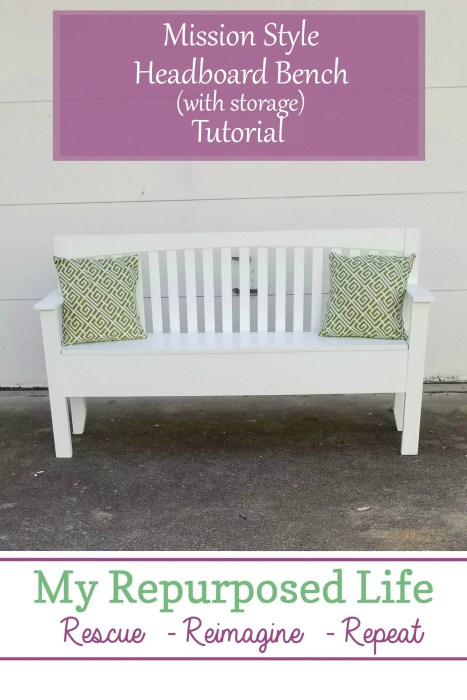 diy mission style white headboard bench with storage tutorial MyRepurposedLife.com