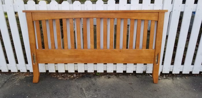 free mission style headboard makes a great bench with storage