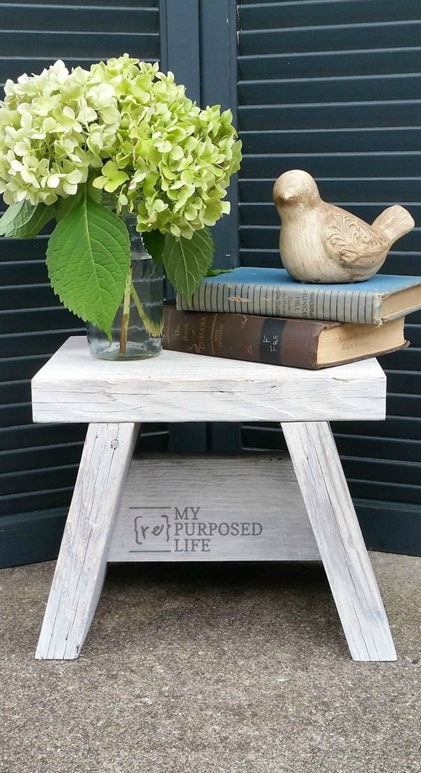 -small easy step stool for kitchen, master closet, bathroom and more. diy tutorial to make your own small stool MyRepurposedLife.