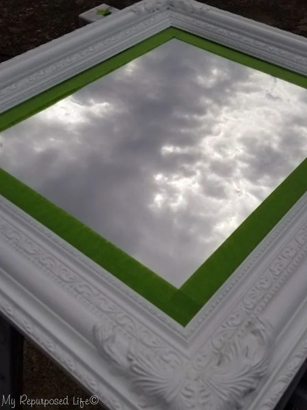 apply painters tape to beveled mirror