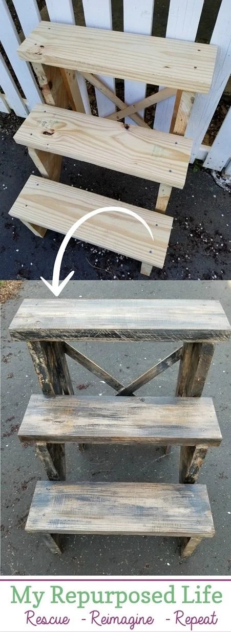 how to do a layered paint aged lumber look MyRepurposedLife.com