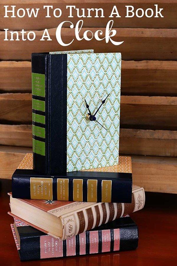repurpose books into a clock