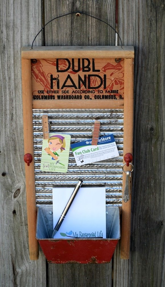 repurposed washboard memo board