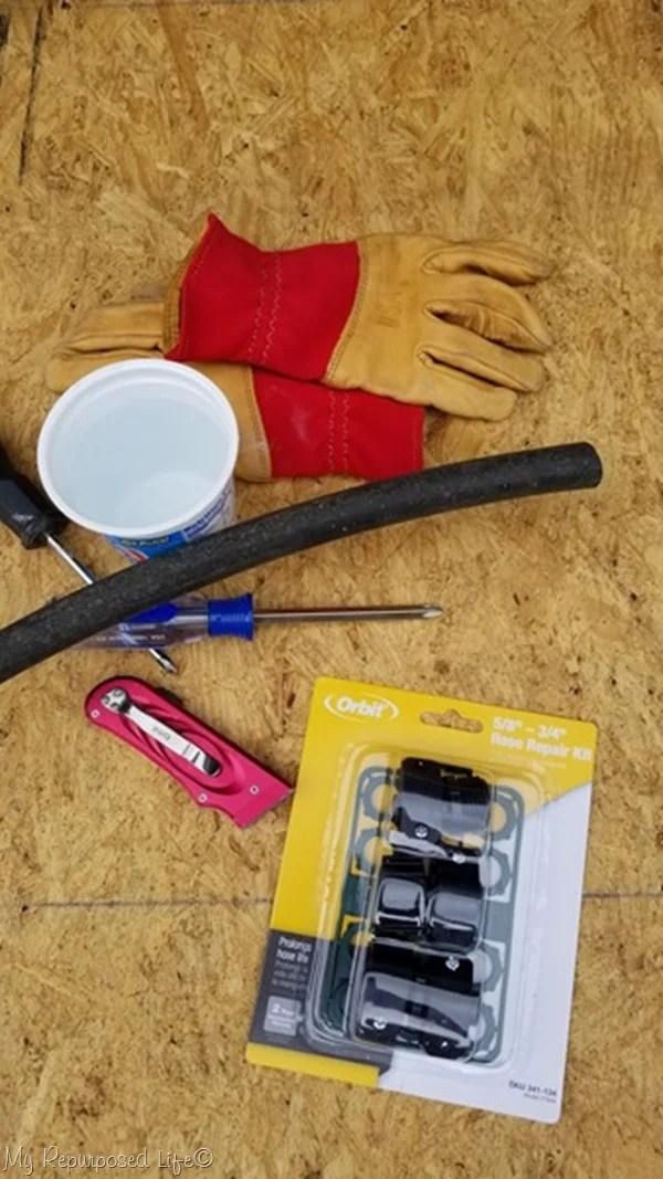 materials for repairing a garden hose