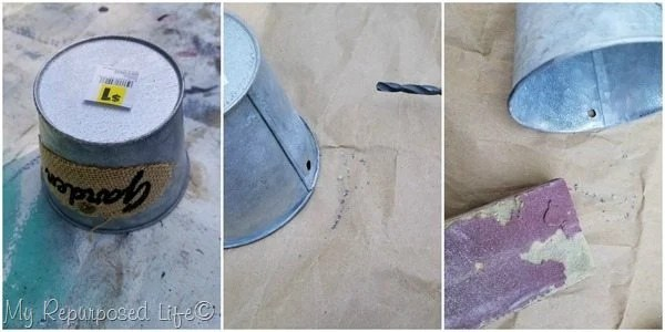small galvanized plant buckets