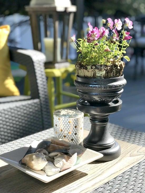 hammered steel repurposed flower pot