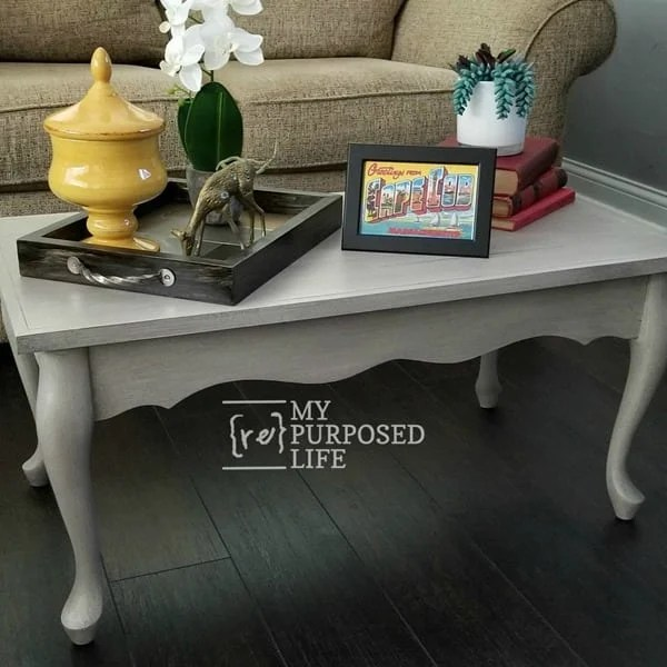 queen anne coffee table top replaced with hardwood flooring MyRepurposedLife.com