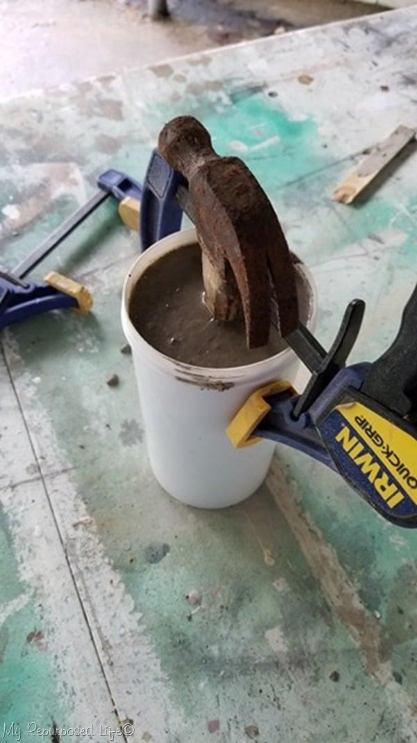 support hammer until mortar mix sets up