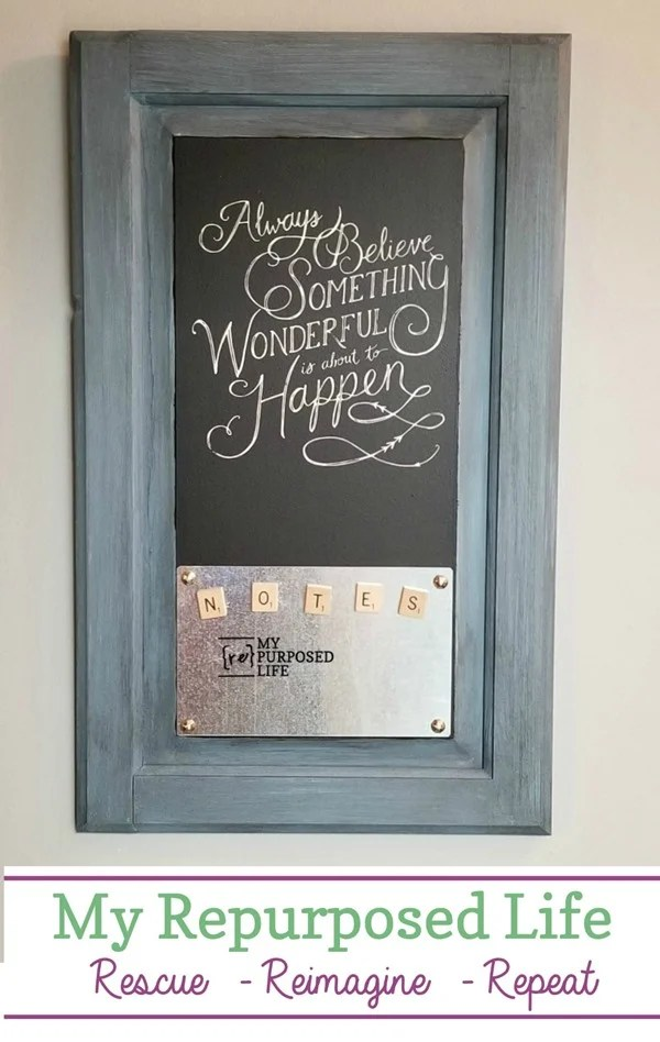 always believe something wonderful is about to happen magnetic memo chalkboard MyRepurposedLife