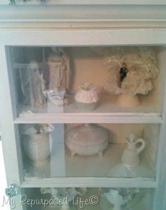 decorated cabinet made with repurposed windows