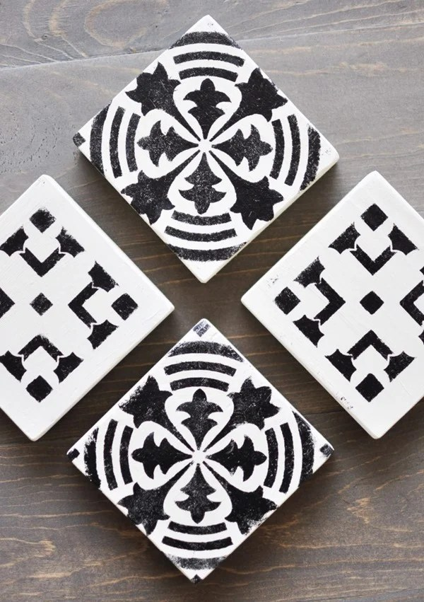 stenciled wooden coasters